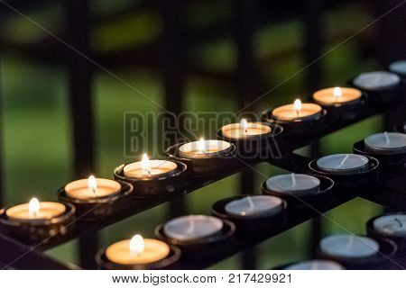 Candles In The Cathedral Of Tarragona (catholic Cathedral) Catalunya, Spain. Close-up.