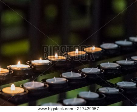 Candles In The Cathedral Of Tarragona (catholic Cathedral) Catalunya Spain. Close-up