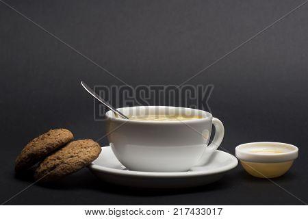 Nutrition And Hot Beverage Concept. Oatmeal Biscuits