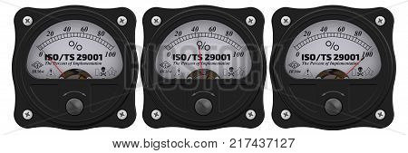 ISO/TS 29001. Analog indicator showing the level of implementation ISO/TS 29001 (defines quality management system requirements for product and service supply organizations for the petroleum petrochemical and natural gas industries). 3D Illustration