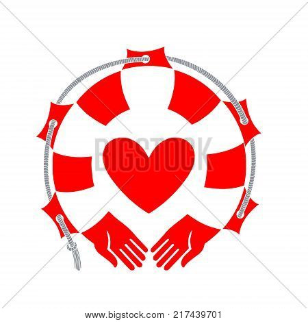 Heart on the background of life buoy. Human hands embrace the heart. Vector illustration of a lifebuoy on white background
