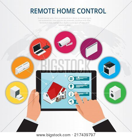 Isometric remote home control, smart home concept. Holding a smart energy controller online home automation system on a digital tablet. Vector illustration.