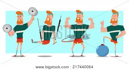 Man with beard doing fitness exercises with dumbbells fit ball hula hoop and trx training. Cute guy cartoon vector character set isolated on background. Healthy lifestyle and sport illustration.