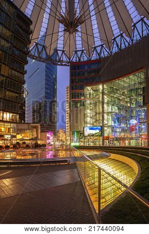 BERLIN, GERMANY - January 24, 2015: Sony Center on The Potsdamer Platz at night. Potsdamer platz, destroyed during World War II, is the most redeveloped area since German reunification.