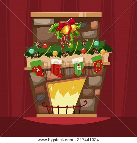 Christmas fireplace with a mantle stockings for gifts and holly berry leaves with a bell. Vector cartoon illustration of Xmas festive decorations of an interior room of a house.