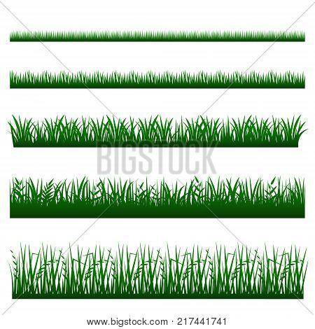 Grass icon set vector. Green grass border collection.