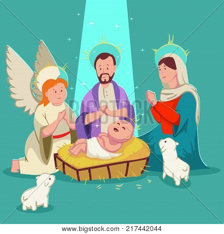 Birth baby Jesus Christmas nativity scene. Vector cute cartoon illustration isolated on background.