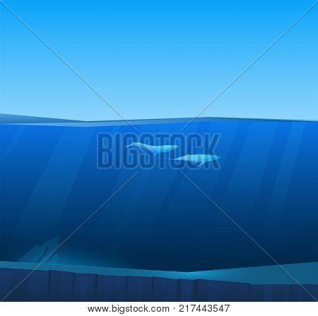 Two big whales under water in deep sea under water. Underwater wildlife. Vector nature seascape.