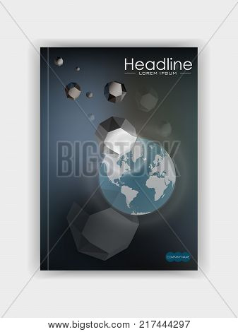 Banner book cover template design. Planet earth under asteroid meteor attack. Disaster. Vector