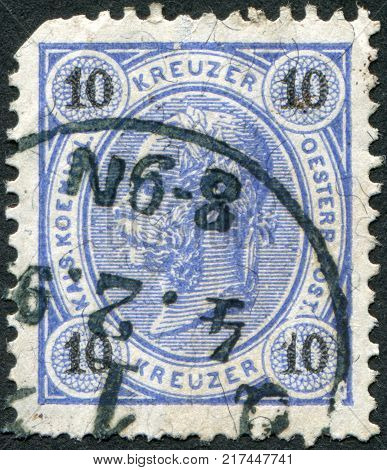 AUSTRIA - CIRCA 1890: A stamp printed in Austria shows Franz Joseph I of Austria circa 1890