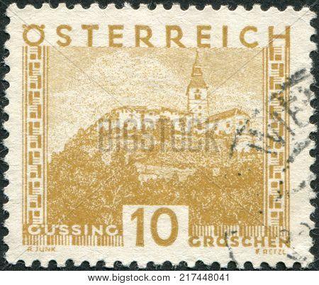 AUSTRIA - CIRCA 1929: A stamp printed in Austria is shown Burg Gussing Burgenland circa 1929