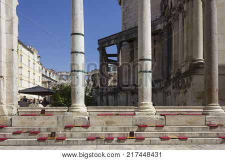 SPLIT, CROATIA - AUGUST 11 2017: colonnade of Diocletian Palace in the mail square of Split