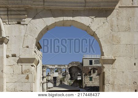 SPLIT, CROATIA - AUGUST 11 2017: Architectural view of Diocletian palace in Split at day time in summer season