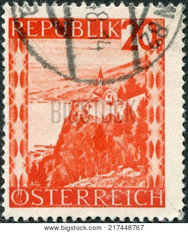 AUSTRIA - CIRCA 1947: A stamp printed in Austria shows Lake Constance (Bodensee) and the chapel at Gebhardsberg circa 1947