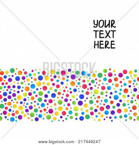 Simple Background of Line of Gradient Colorful Circles on White Backdrop. Universal Abstract Template with Seamless Pattern of Rainbow Circles Continuous to Right and to Left.