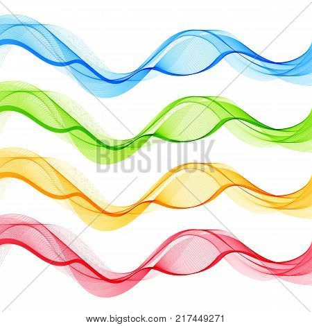 Set of Blue Green Red Yellow Abstract Isolated Transparent Wave Lines for White Background. Design Elements Smooth Wavy Horizontal Curved Lines for Business Presentation Blank Template Cover.