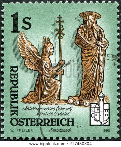 AUSTRIA - CIRCA 1995: A stamp printed in Austria shows Detail of abbesse's crosier St. Gabriel Abbey Styria circa 1995