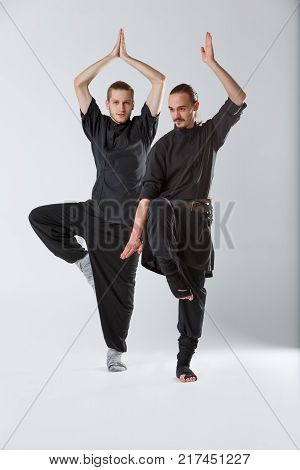 Two ninja guy young crane pose and a man with long hair. Stands on one leg with his hand up and down on a gray background