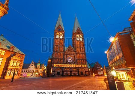 Ancient Bremen Market Square in the centre of the Hanseatic City of Bremen with Bremen Cathedral, Germany