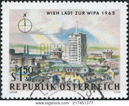 AUSTRIA - CIRCA 1964: A stamp printed in Austria is dedicated to the Vienna International Philatelic Exhibition is shown Ringturm and Flak tower Vienna circa 1964