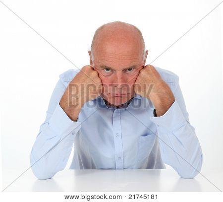 Senior man being grouchy