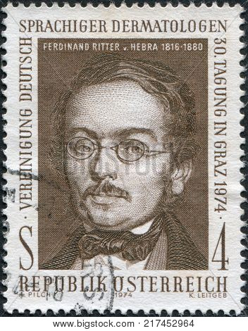AUSTRIA - CIRCA 1974: A stamp printed in Austria is shown Ferdinand Ritter von Hebra the founder of modern dermatology circa 1974