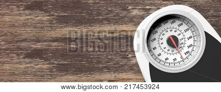 Bathroom scale on the right side of a wooden floor background. Copyspace for text. 3d illustration