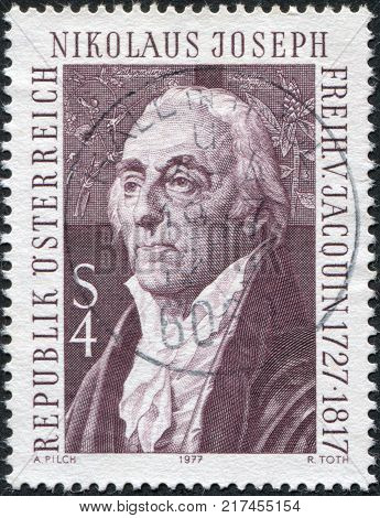 AUSTRIA - CIRCA 1977: A stamp printed in Austria is shown Nikolaus Joseph von Jacquin Botanist circa 1977