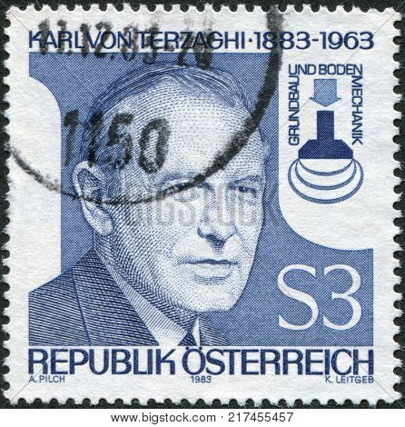 AUSTRIA - CIRCA 1983: A stamp printed in Austria shows Karl von Terzaghi Founder of Scientific Subterranean Engineering circa 1983