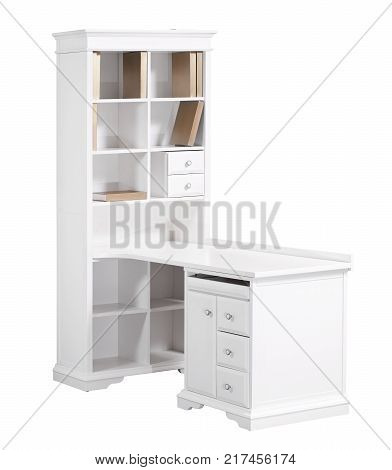 Home white wooden workstation (desk and bookcase) with clipping path