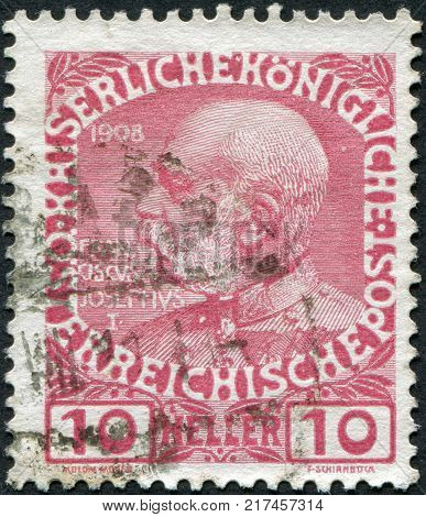 AUSTRIA - CIRCA 1908: A stamp printed in Austria shows Franz Joseph I of Austria circa 1908