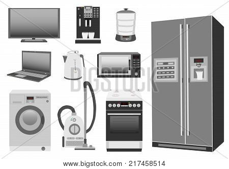 Set of colored home appliances: kitchen stove, refrigerator, microwave, washing machine, vacuum cleaner, electric kettle, steamer, coffee machine, TV, laptop