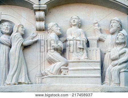 KLENOVNIK, CROATIA - OCTOBER 08: Twelve year old Jesus in the Temple, Mary's Way in Klenovnik, Croatia on October 08, 2016.