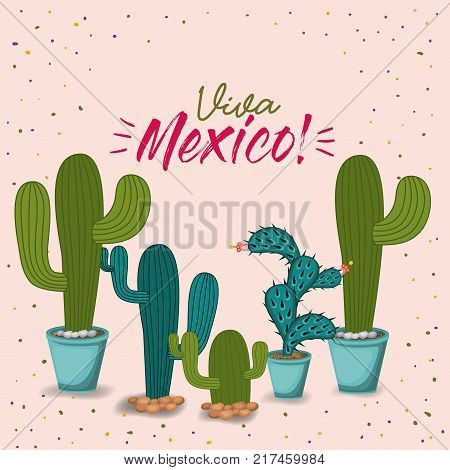 viva mexico colorful poster with cactus plants vector illustration