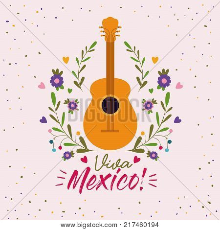 viva mexico colorful poster with acoustic guitar vector illustration