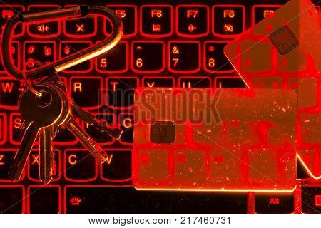 The Concept Of Credit Card Theft. Hackers With Credit Cards On Laptops Use These Data For Unauthoriz