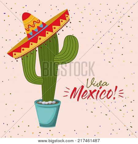 viva mexico colorful poster of cactus plant with mexican hat vector illustration