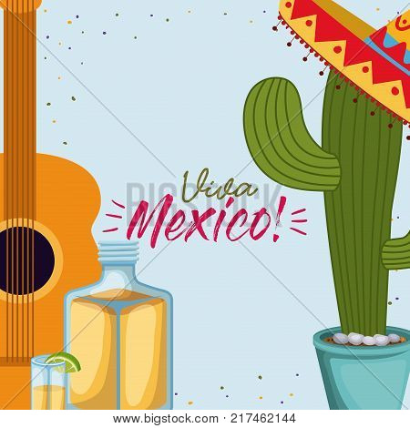 viva mexico colorful poster with guitar and cactus plant and tequila bottle vector illustration