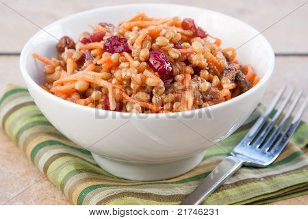 Vegan Salad - Wheat Berry Salad With Cranberries And Nuts