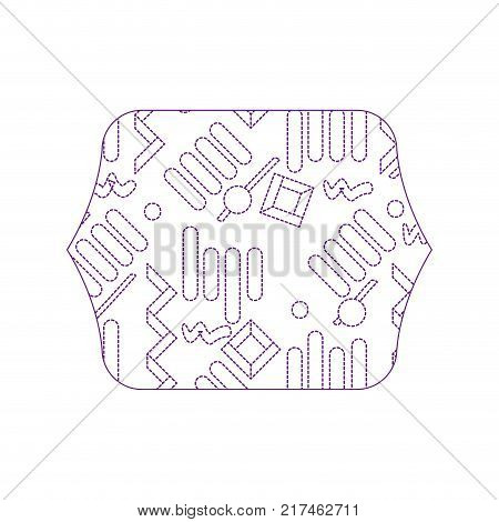 dotty shape quadrate with graphic memphis style background vector illustration