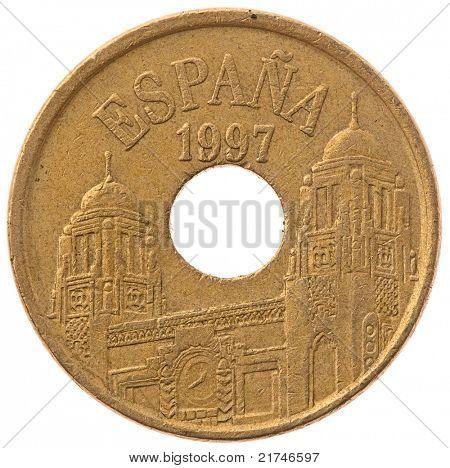 25 pesetas coin isolated on white background