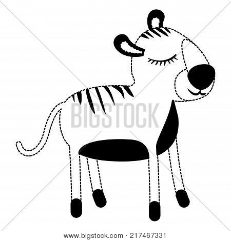 female tiger cartoon with closed eyes expression in black dotted silhouette vector illustration