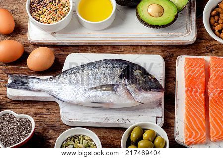 Food rich in omega 3 fatty acid and healthy fats. Healthy diet food concept. View from above