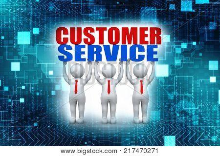 Three customer service representatives lift the words. 3d render