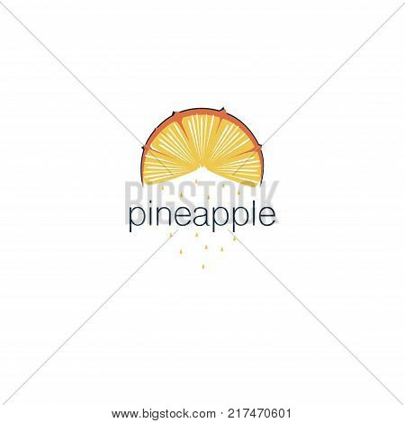 The cover design . Depicted yellow pineapple, the word pineapple and pineapple drops yellow. Can be used as a logo.