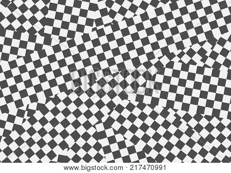Black and white geometric optical illusion background. Vector contrast design