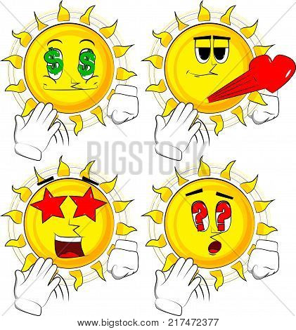 Cartoon sun cooling himself with his hand. Collection with various facial expressions. Vector set.