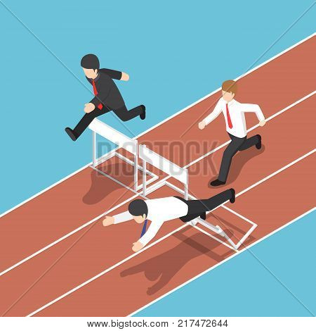 Flat 3d isometric businessman running with obstacle in hurdle race. Business competition concept.