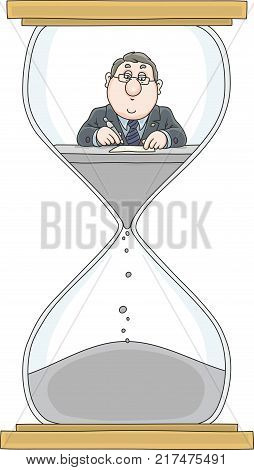 Clerk in a hourglass. A vector illustration of a functionary working with documents at his desk in a sandglass