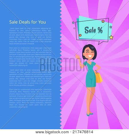 Sale deals for you poster with woman thinking about sales, dressed in blue gown. Speech bubble with stars vector illustration poster with text
